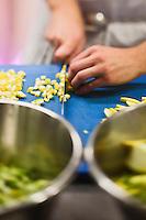 Europe/France/Provence-Alpes-Côte d'Azur/13/Bouches-du-Rhône/Env d'Arles/Le Sambuc: Restaurant Bio: La Chassagnette - Le chef  Armand Arnal en cuisine prépare les légumes bio du potager