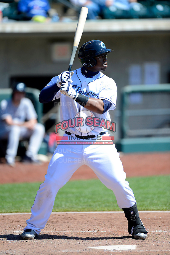 Columbus Clippers first baseman Mike McDade #40 during a game against the Toledo Mudhens on April 22, 2013 at Huntington Park in Columbus, Ohio.  Columbus defeated Toledo 3-0.  (Mike Janes/Four Seam Images)
