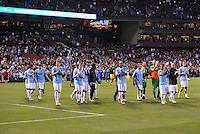 Manchester City players applaud the fans at the end of the game..Manchester City defeated Chelsea 4-3 in an international friendly at Busch Stadium, St Louis, Missouri.