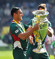 Dan Bowden with the Aviva Premiership trophy. Aviva Premiership Final, between Leicester Tigers and Northampton Saints on May 25, 2013 at Twickenham Stadium in London, England. Photo by: Patrick Khachfe / Onside Images