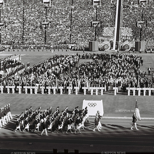 USA delegation,<br /> OCTOBER 10, 1964 - Opening Ceremony : USA delegation parades during the Opening Ceremony of 1964 Tokyo Olympic Games at National Stadium in Tokyo, Japan.<br /> (Photo by Shinichi Yamada/AFLO) [0348]