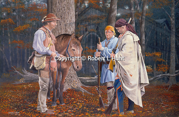 "Early Pennsylvania woodsmen and Indian traders John Hart and Stephen Franks negotiating the trade of a flintlock rifle with one of the Delaware Woodland Indians, deep in the Pennsylvania woods, circa 1750, with the ghost of present-day Alexandria PA Library in the background. Oil on canvas, 20' x 30""."