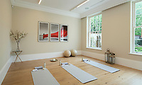 BNPS.co.uk (01202 558833)<br /> Pic: Savills/BNPS<br /> <br /> Yoga room.<br /> <br /> Fairway to Heaven - Hills End has been described as 'a fabulous new masterpiece'. <br /> <br /> This breathtaking brand new mansion only a pitching wedge from one the most exclusive golf clubs in the country has emerged for sale for a whopping £22m.<br /> <br /> Hills End nestles within the prestigious Sunningdale estate in Surrey, home of the £4,000 a year Sunningdale Golf Club which dates back to 1900 and has hosted the Women's British Open and the Senior Open Championship.<br /> <br /> The newly-built property sits on a 1.75 acre plot  boasting six bedrooms, eight reception areas, a swimming pool complex with spa, sauna and yoga rooms along with a large cinema. and walk in wardrobes.<br /> <br /> The incredible Palladian style home is on the market with estate agents Savills who describe it as 'a fabulous new masterpiece'...that comes with a whopping £22 million price tag.