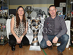 Sean and Petra Clarke from Wee County Trophies pictured at the Enterprise day in Ardee parish centre. Photo:Colin Bell/pressphotos.ie