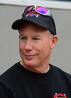 Apr. 15, 2012; Concord, NC, USA: NHRA top fuel dragster driver Pat Dakin during eliminations for the Four Wide Nationals at zMax Dragway. Mandatory Credit: Mark J. Rebilas-