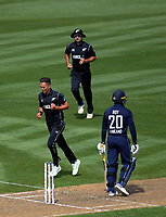 New Zealand's Trent Boult celebrates dismissing Jason Roy during the One Day International between the New Zealand Black Caps and England at the Westpac Stadium in Wellington, New Zealand on Friday, 2 March 2018. Photo: Dave Lintott / lintottphoto.co.nz