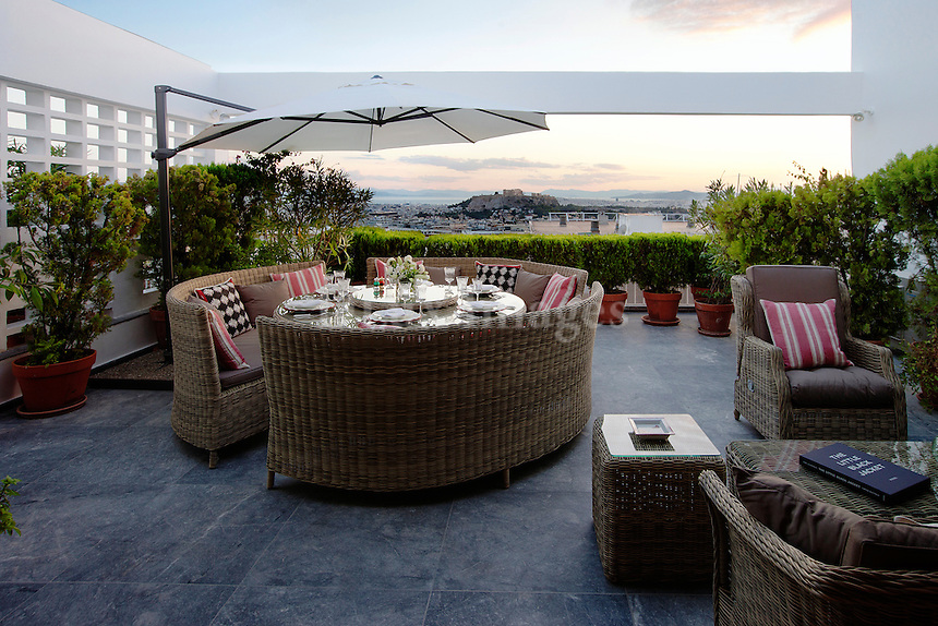 Terrace with rattan sofas