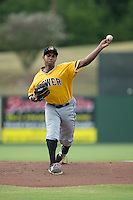 West Virginia Power starting pitcher Stephen Tarpley (46) in action against the Kannapolis Intimidators at Intimidators Stadium on July 2, 2015 in Kannapolis, North Carolina.  The Power defeated the Intimidators 5-1.  (Brian Westerholt/Four Seam Images)