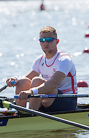 Brandenburg. GERMANY.<br /> GBR M2X. Bow John COLLINS  at the start of the heat. 2016 European Rowing Championships at the Regattastrecke Beetzsee<br /> <br /> Friday  06/05/2016<br /> <br /> [Mandatory Credit; Peter SPURRIER/Intersport-images]