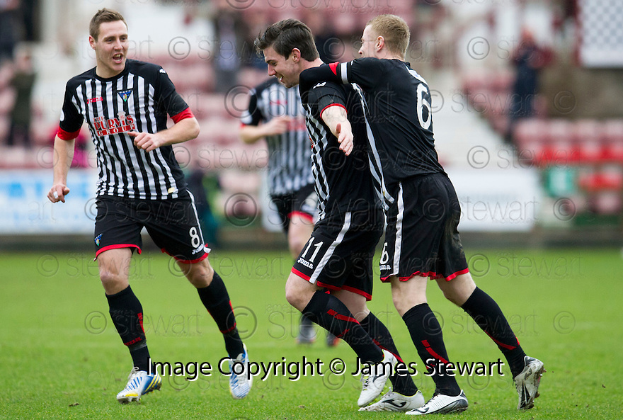 Pars' Ross Forbes (11) celebrates with Andrew Geggan (6) and Pars' Stephen Husband (8) after he scores their first goal.