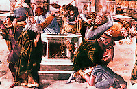 "Vatican:  Sistine Chapel--""Punishment of Korah"", part of the fresco by Botticelli on a wall of the Sistine Chapel, 1481."