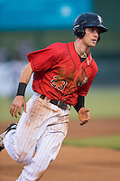 Zach Remillard (23) of the Kannapolis Intimidators hustles towards third base against the Charleston RiverDogs at Kannapolis Intimidators Stadium on August 3, 2016 in Kannapolis, North Carolina.  The Intimidators defeated the RiverDogs 8-4.  (Brian Westerholt/Four Seam Images)