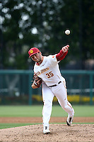 Andrew Wright (35) of the Southern California Trojans pitches against the Mississippi State Bulldogs at Dedeaux Field on March 5, 2016 in Los Angeles, California. Mississippi State defeated Southern California , 8-7. (Larry Goren/Four Seam Images)