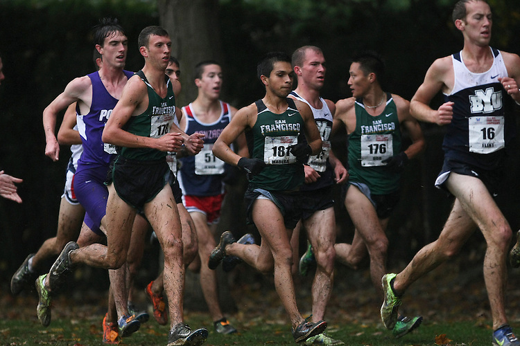 October 27, 2012; Portland, OR, USA; BYU Cougars runner Steve Flint (16), San Francisco Dons runner Jose Madera (181), San Francisco Dons runner Ganbileg Bor (176), San Francisco Dons runner Steven Garboden (178) during the WCC Cross Country Championships at Fernhill Park.