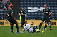 Preston North End's Sean Maguire is tackled by Newcastle United's Paul Dummett<br /> <br /> Photographer Stephen White/CameraSport<br /> <br /> Football Pre-Season Friendly - Preston North End v Newcastle United - Saturday July 27th 2019 - Deepdale Stadium - Preston<br /> <br /> World Copyright © 2019 CameraSport. All rights reserved. 43 Linden Ave. Countesthorpe. Leicester. England. LE8 5PG - Tel: +44 (0) 116 277 4147 - admin@camerasport.com - www.camerasport.com