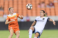 Houston, TX - Saturday July 08, 2017: Janine Beckie and Christine Sinclair look to gain control of a loose ball during a regular season National Women's Soccer League (NWSL) match between the Houston Dash and the Portland Thorns FC at BBVA Compass Stadium.