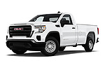 Stock pictures of low aggressive front three quarter view of a 2019 GMC Sierra 1500 Base 2 Door Pick Up