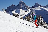Snowboarding Grand Targhee, Alta, Wyoming