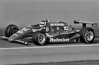INDIANAPOLIS, IN - MAY 26: Bobby Rahal drives the Budweiser March 85C 11/Cosworth during practice for the Indianapolis 500 at the Indianapolis Motor Speedway in Indianapolis, Indiana, on May 26, 1985.