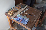 Workbench of Lazaro Niebla, master wood carver artist