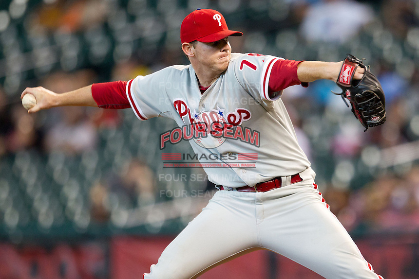 Philadelphia Phillies pitcher Justin Ed Fratus #79 delivers during the Major League baseball game against the Houston Astros on September 16th, 2012 at Minute Maid Park in Houston, Texas. The Astros defeated the Phillies 7-6. (Andrew Woolley/Four Seam Images).