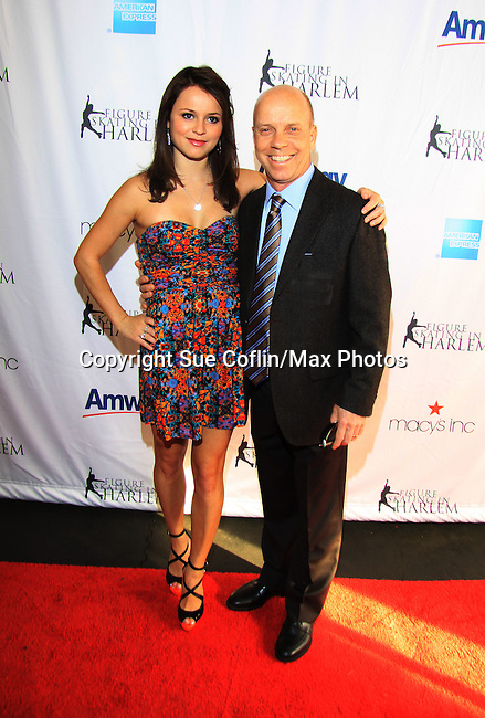 US Figure Skaters Sasha Cohen (2006 Olympic Silver Medalist, 3 time World Championship medalist) and Scott Hamilton (Olympic Gold Medalist) - The 2013 Skating with the Stars- a benefit gala for Figure Skating in Harlem on April 8, 2013 at Trump Wollman Rink, New York City, New York. (Photo by Sue Coflin/Max Photos)