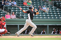 Third baseman Joey Gallo (30) of the Hickory Crawdads bats in a game against the Greenville Drive on Friday, June 7, 2013, at Fluor Field at the West End in Greenville, South Carolina. Gallo is the No. 10 prospect of the Texas Rangers, according to Baseball America and was a first-round pick (39th overall) in the 2012 First-Year Player Draft. The catcher is the Drive's Jayson Hernandez. Greenville won the resumption of this May 22 suspended game, 17-8. (Tom Priddy/Four Seam Images)
