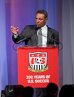Mia Hamm, Brandi Chastain, Tony DiCicco. US Soccer held their Centennial Gala at the National Building Museum in Washington DC.