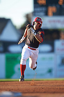 Batavia Muckdogs second baseman Mike Garzillo (11) running the bases during a game against the Hudson Valley Renegades on August 2, 2016 at Dwyer Stadium in Batavia, New York.  Batavia defeated Hudson Valley 2-1. (Mike Janes/Four Seam Images)