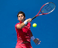 CARLA SUAREZ NAVARRO (ESP) against IRINA-CAMELLA BEGU (ROU) in the first round of the women's Singles. Carla Suarez Navarro beat Irina-Camella Begu  6-1 7-5 ..17/01/2012, 17th January 2012, 17.01.2012..The Australian Open, Melbourne Park, Melbourne,Victoria, Australia.@AMN IMAGES, Frey, Advantage Media Network, 30, Cleveland Street, London, W1T 4JD .Tel - +44 208 947 0100..email - mfrey@advantagemedianet.com..www.amnimages.photoshelter.com.