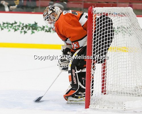 Colton Phinney (Princeton - 33) - The Harvard University Crimson defeated the visiting Princeton University Tigers 5-0 on Harvard's senior night on Saturday, February 28, 2015, at Bright-Landry Hockey Center in Boston, Massachusetts.