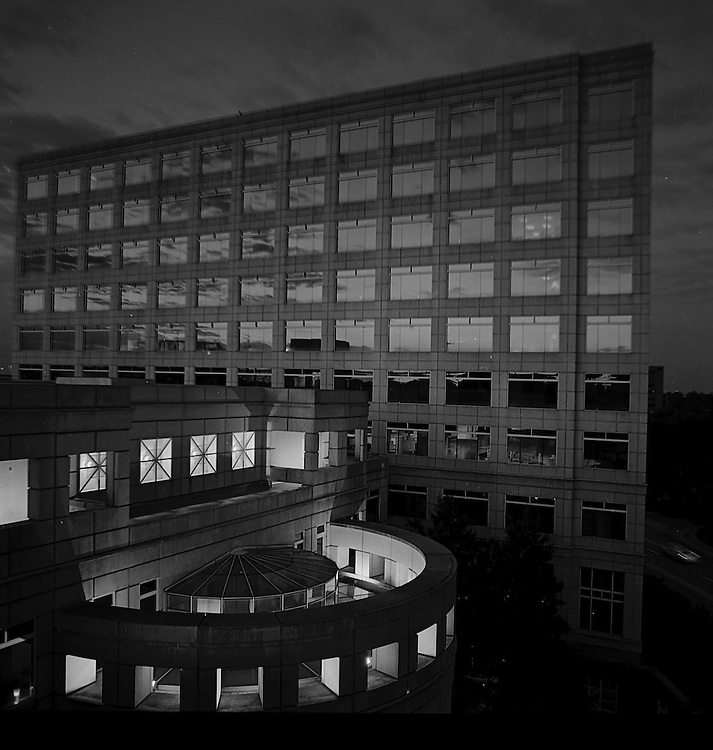 I often get to work before daylight, especially in winter.   And I find the North Pavillion building remarkably attractive, particularly in low light.  Here, the windows are reflecting the first light at dawn.  This was shot from the top floor of the attached parking garage, a month or so ago.<br /> <br />   --ken     <br /> Ken Kuzenski, B.S.<br /> Clinical Research Specialist<br /> Division of Cellular Therapy<br /> Duke University Medical Center<br /> Physical Address:  2400 Pratt Street, Ste. 9000 North Pavilion, Durham, NC 27705<br /> Mailing Address:  Box 3961, DUMC, Durham, NC 27710<br /> Phone:  919-668-1031     Fax:  919-668-1092<br /> Email: ken.kuzenski@duke.edu