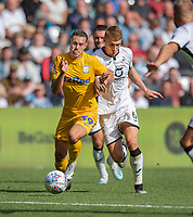 Swansea City's Jay Fulton (right) battles with Preston North End's Billy Bodin (left) <br /> <br /> Photographer David Horton/CameraSport<br /> <br /> The EFL Sky Bet Championship - Swansea City v Preston North End - Saturday 17th August 2019 - Liberty Stadium - Swansea<br /> <br /> World Copyright © 2019 CameraSport. All rights reserved. 43 Linden Ave. Countesthorpe. Leicester. England. LE8 5PG - Tel: +44 (0) 116 277 4147 - admin@camerasport.com - www.camerasport.com