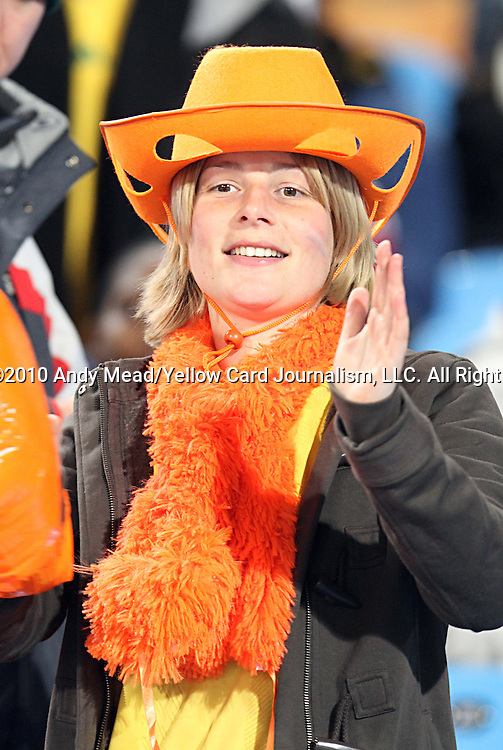 19 JUN 2010:  Dutch fan in the stands.  The Cameroon National Team played the Denmark National Team at Loftus Versfeld Stadium in Tshwane/Pretoria, South Africa in a 2010 FIFA World Cup Group E match.
