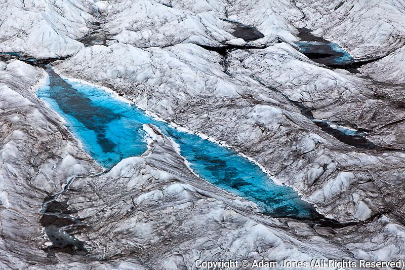 Aerial view of crevasse patterns in Kinik glacier, Alaska