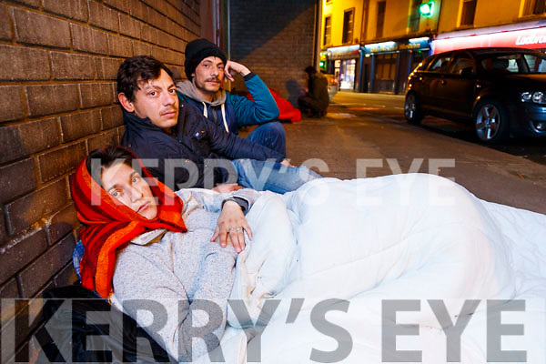 Homeless people in Edward Street Tralee on Saturday night.