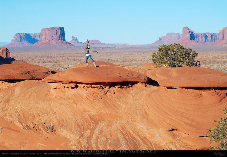 Dancing on a Saucer, The Saucers and Petrified Dunes, Mystery Valley, Monument Valley Navajo Tribal Park, Navajo Nation Reservation, Utah/Arizona Border