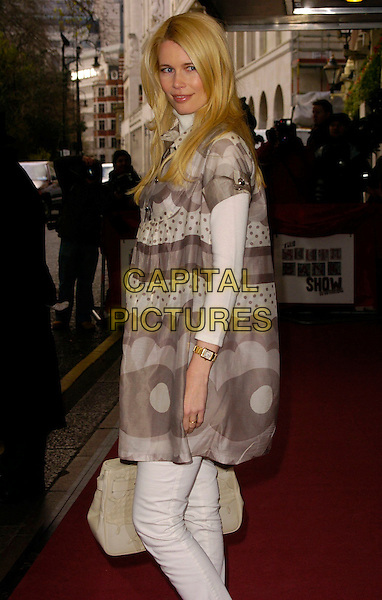 CLAUDIA SCHIFFER.The South Bank Show Awards, Savoy Hotel, London, UK..January 23rd, 2007.half length grey gray polka dot pattern print white dress.CAP/CAN.©Can Nguyen/Capital Pictures