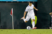 Cristiano Ronaldo of Real Madrid sends the ball over the middle. Real Madrid beat the LA Galaxy 3-2 in an international friendly match at the Rose Bowl in Pasadena, California on Saturday evening August 7, 2010.