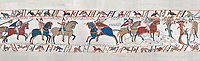 Bayeux Tapestry scene 49:  As he advances Duke William is told where the Saxon army is. BYX49