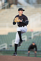 Kannapolis Intimidators starting pitcher Jimmy Lambert (12) in action against the Lakewood BlueClaws at Kannapolis Intimidators Stadium on April 6, 2017 in Kannapolis, North Carolina.  The BlueClaws defeated the Intimidators 7-5.  (Brian Westerholt/Four Seam Images)