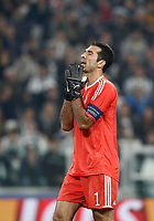 Football Soccer: UEFA Champions League Juventus vs Sporting Clube de Portugal, Allianz Stadium. Turin, Italy, October 18, 2017. <br /> Juventus' captain Gianluigi Buffon reacts after Juventus Alex Sandro auto-goal during the Uefa Champions League football soccer match between Juventus and Sporting Clube de Portugal at Allianz Stadium in Turin, October 18, 2017.<br /> UPDATE IMAGES PRESS/Isabella Bonotto