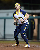 Michigan Wolverines Softball infielder Caitlin Blanchard (44) during a game against the University of South Florida Bulls on February 8, 2014 at the USF Softball Stadium in Tampa, Florida.  Michigan defeated USF 3-2.  (Copyright Mike Janes Photography)