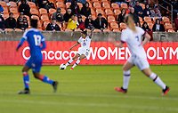 HOUSTON, TX - JANUARY 28: Christen Press #20 of the United States crosses the ball during a game between Haiti and USWNT at BBVA Stadium on January 28, 2020 in Houston, Texas.