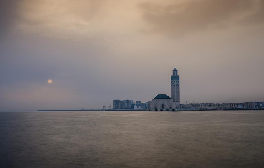 CASABLANCA, MOROCCO - CIRCA APRIL 2017:  Mosque Hassan II in Casablanca at Sunrise