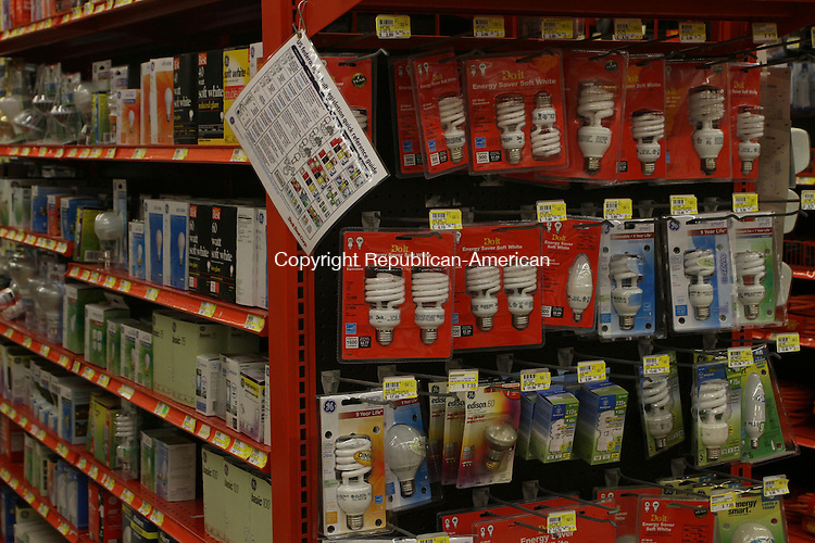 NAUGATUCK, CT-02 January 2014-010214LW02 - Ed's Hardware in Naugatuck still carries 100, 75, 60, and 40 watt incandescent bulbs despite a law that prohibits their manufacture or import. Store manager Mary Jenkins reports about half her customers buy incandescent lights while others buy more energy efficient CFLs.<br /> Laraine Weschler Republican-American