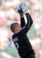 LA Galaxy Goal Keeper Josh Saunders (12) leaps high for another save. The LA Galaxy defeated Boca Juniors 1-0 at Home Depot Center stadium in Carson, California on Sunday May 23, 2010.  .