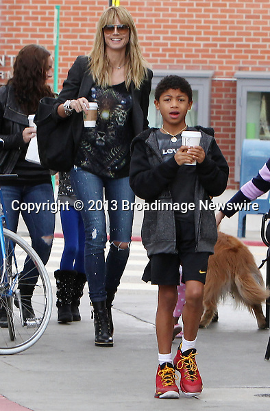 Pictured: Heidi Klum, Johan Samuel, Henry Samuel, Leni Klum, Lou Samuel<br /> Mandatory Credit &copy; ACLA/Broadimage<br /> Heidi Klum and kids get coffee at Starbucks in Brentwood<br /> <br /> 2/2/14, Brentwood, California, United States of America<br /> <br /> Broadimage Newswire<br /> Los Angeles 1+  (310) 301-1027<br /> New York      1+  (646) 827-9134<br /> sales@broadimage.com<br /> http://www.broadimage.com