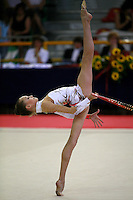Natalia Pichuzhkina of Russia flexion with hoop during junior AA competition at 2006 Trofeo Cariprato in Prato, Italy on June 17, 2006. Natalia took 2nd place in juniors at this international invitational.  (Photo by Tom Theobald)