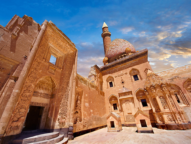 Courtyard of the 18th Century Ottoman architecture of the Ishak Pasha Palace (Turkish: İshak Paşa Sarayı) ,  Agrı province of eastern Turkey.